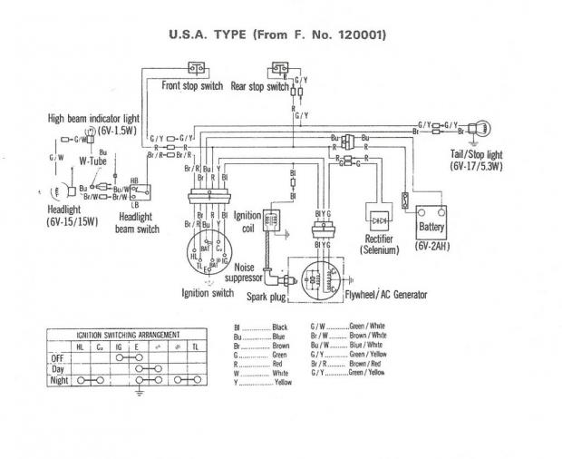 1969 honda z50 should brake light work withought key in ignition 1980 Honda CT70 Wiring-Diagram